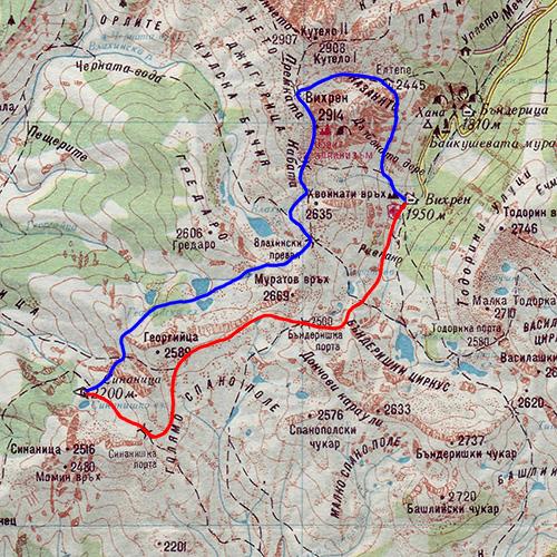 Карта на маршрута: х. Вихрен - х. Синаница - вр. Вихрен