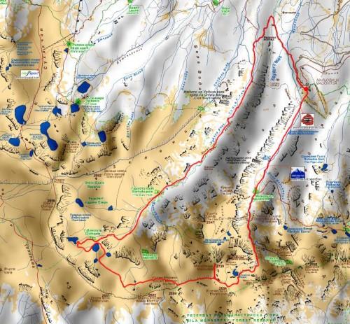 Карта на маршрута: ЦПШ - Урдини езера - Мальовица - ЦПШ
